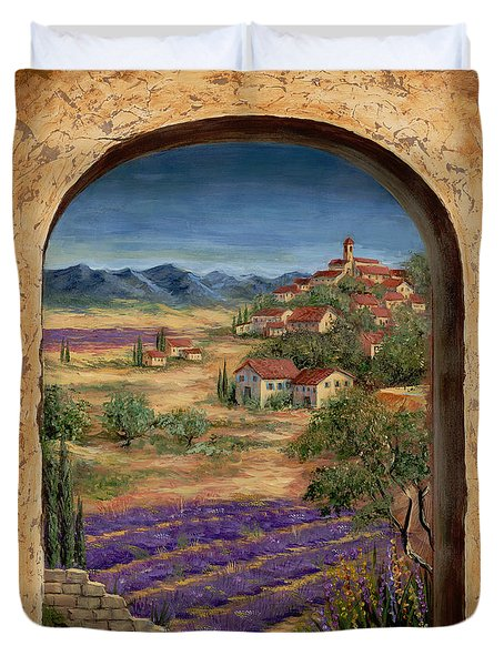 Lavender Fields And Village Of Provence Duvet Cover by Marilyn Dunlap