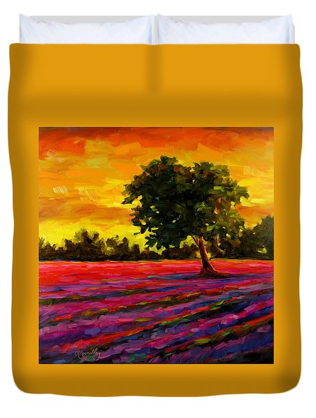 Duvet Cover featuring the painting Lavender Fire by Chris Brandley
