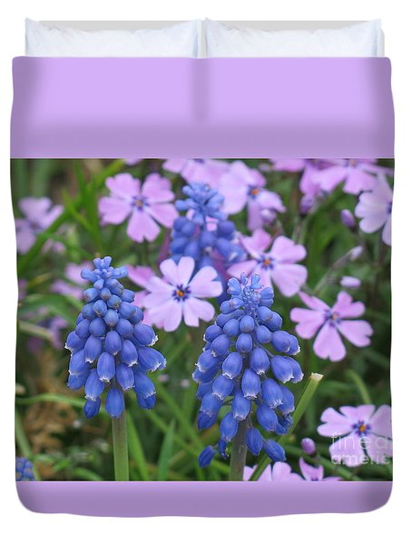 Lavender Flowers And Blue Berries Duvet Cover by Rod Ismay