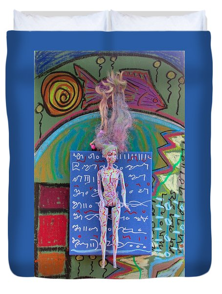 Duvet Cover featuring the painting Lavender Herbal Tincture by Clarity Artists