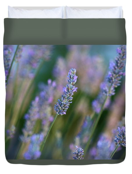 Duvet Cover featuring the photograph Lavender In The Morning 2 by Lynn Hopwood