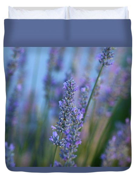 Duvet Cover featuring the photograph Lavender In The Morning by Lynn Hopwood