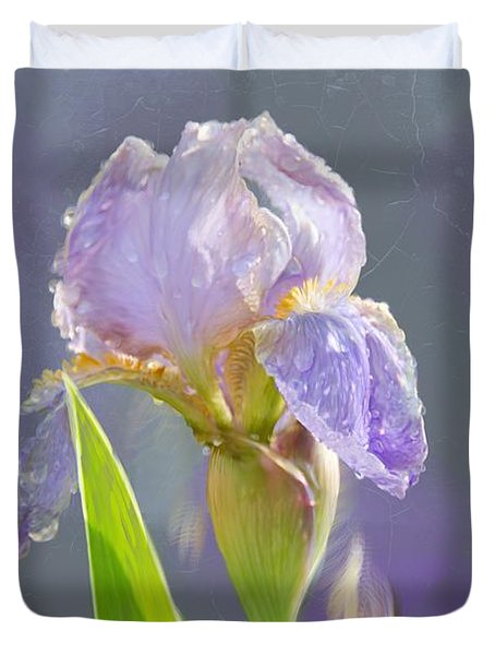 Lavender Iris In The Morning Sun Duvet Cover