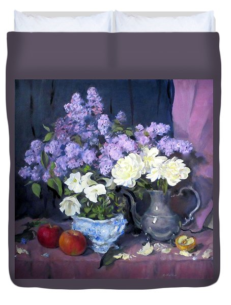 Lilacs, White Peonies And White Lisianthus Duvet Cover