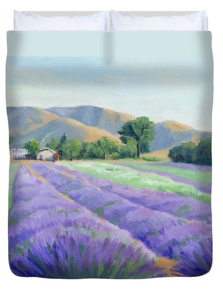 Duvet Cover featuring the painting Lavender Lines by Sandy Fisher