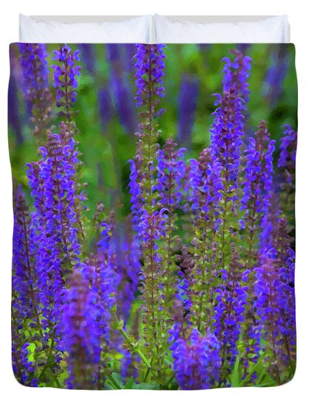 Duvet Cover featuring the digital art Lavender Patch by Chris Flees