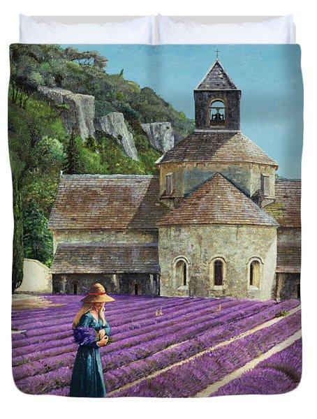 Lavender Picker - Abbaye Senanque - Provence Duvet Cover by Trevor Neal