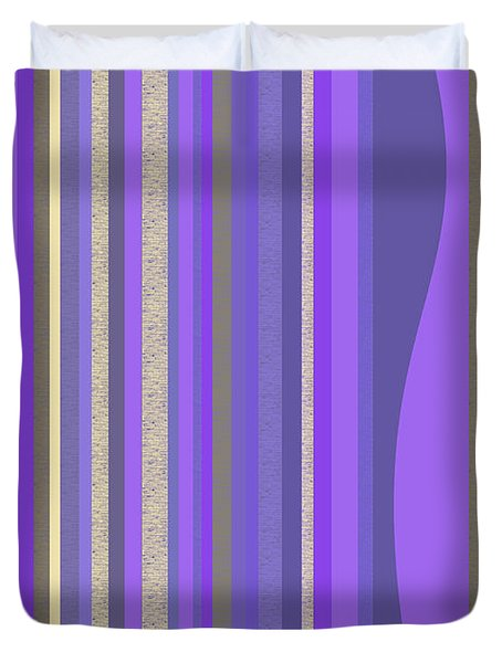 Lavender Random Stripe Abstract Duvet Cover