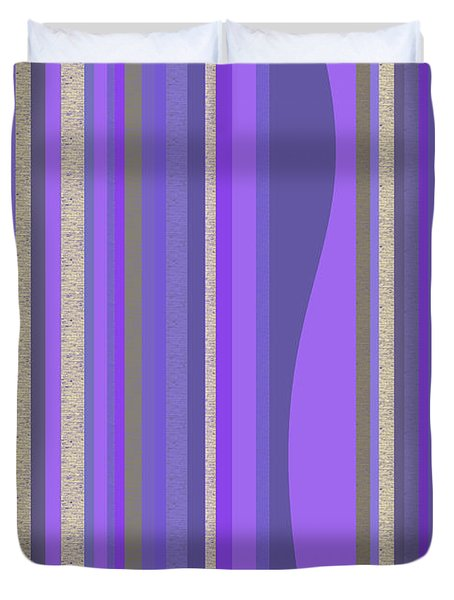 Duvet Cover featuring the digital art Lavender Random Stripe Abstract by Val Arie