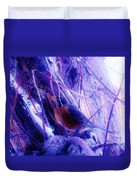 Duvet Cover featuring the photograph Lavender Robin by Cathy Long