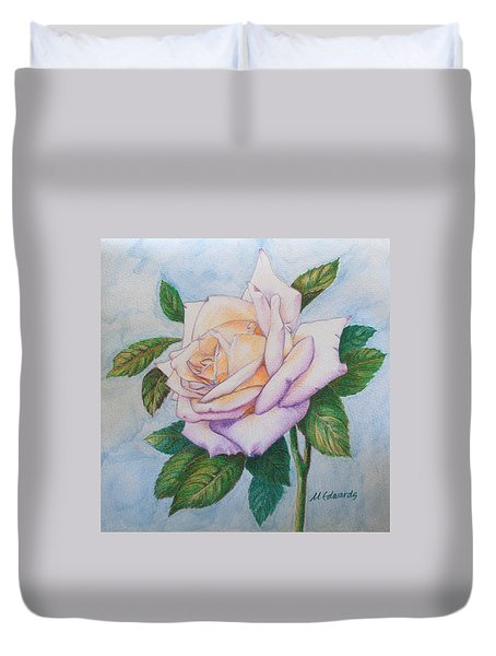 Duvet Cover featuring the drawing Lavender Rose by Marna Edwards Flavell