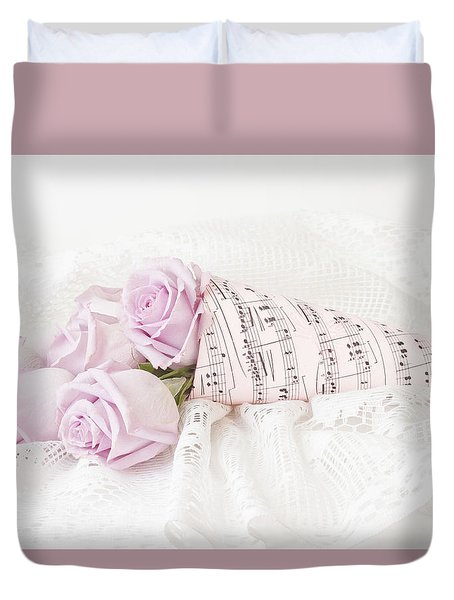 Lavender Roses And Music Duvet Cover by Sandra Foster