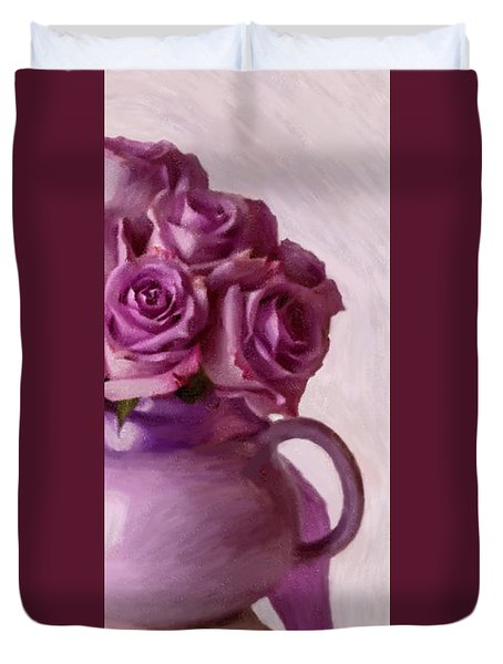 Lavender Roses And Tea Pot Duvet Cover by Sandra Foster