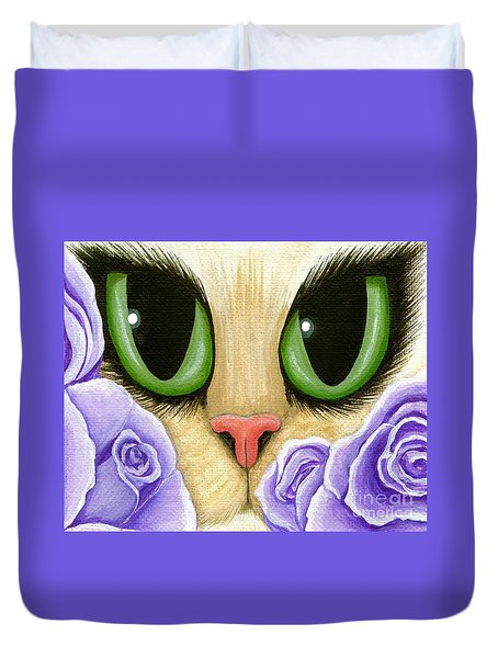 Duvet Cover featuring the painting Lavender Roses Cat - Green Eyes by Carrie Hawks