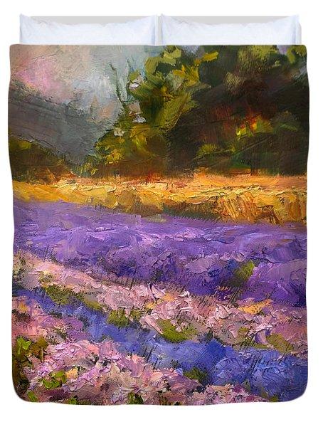 Lavender Rows - Impressionistic Landscape Plein Air Painting Duvet Cover