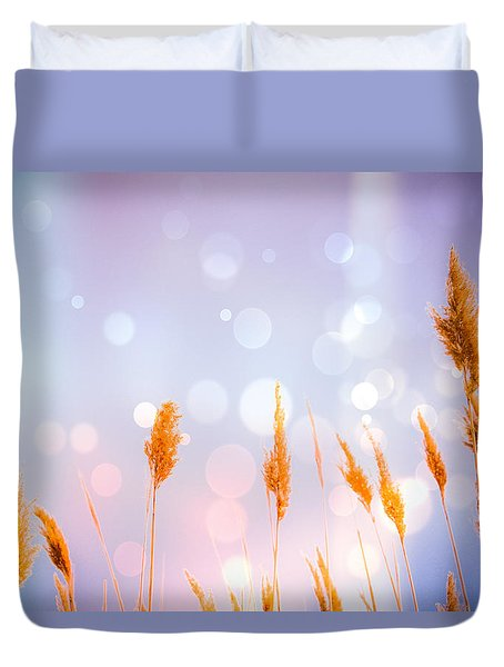 Lavender Sea Oats Bokeh Duvet Cover