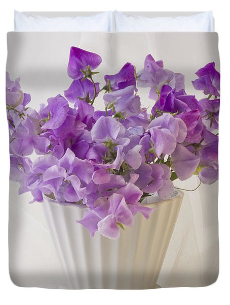 Lavender Sweet Peas And Chiffon Duvet Cover by Sandra Foster