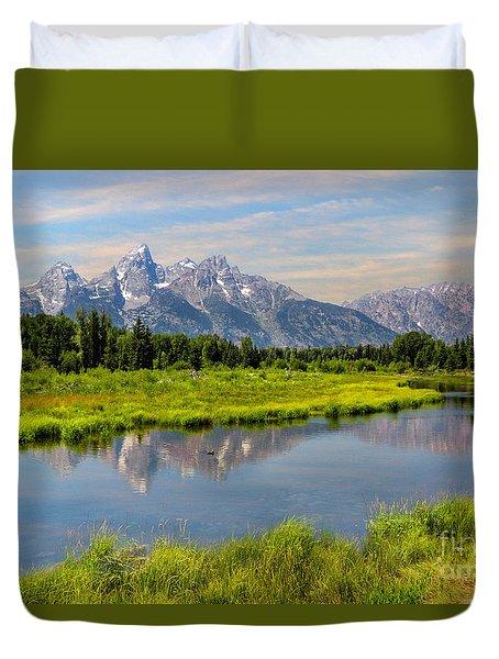 Lavender Teton Peaks  Duvet Cover