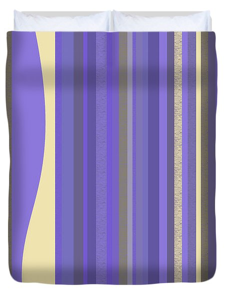 Duvet Cover featuring the digital art Lavender Twilight - Stripes by Val Arie