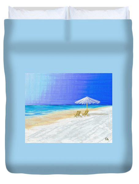 Lawn Chairs In Paradise Duvet Cover