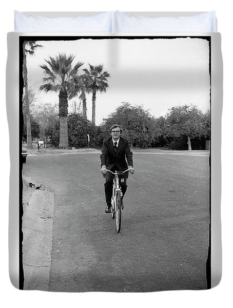 Lawyer On A Bicycle, 1971 Duvet Cover