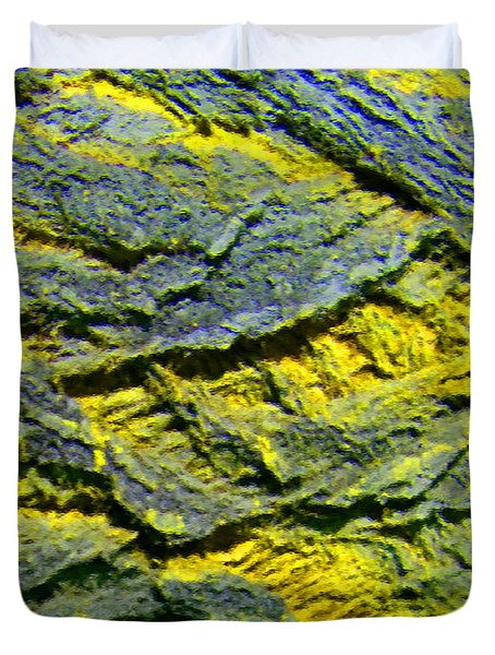 Duvet Cover featuring the photograph Layers In Blue And Yellow by Lenore Senior