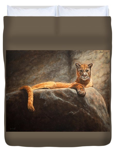 Laying Cougar Duvet Cover