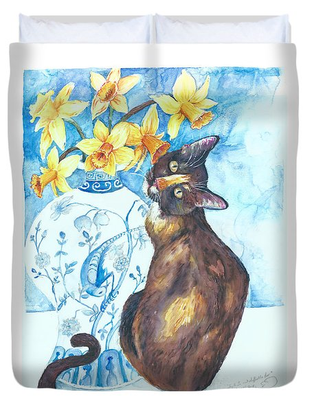 Layla Lu And Daffodils Too Duvet Cover