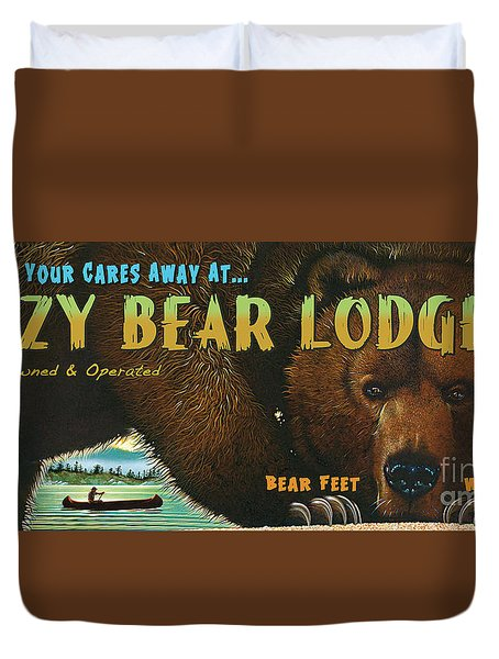 Duvet Cover featuring the painting Lazy Bear Lodge Sign by Wayne McGloughlin