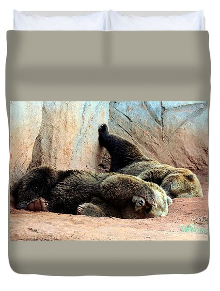 Duvet Cover featuring the photograph Lazy Bears by Sheila Brown