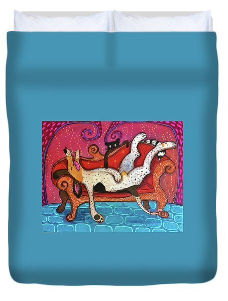 Duvet Cover featuring the painting Lazy Coonhound by Marti McGinnis