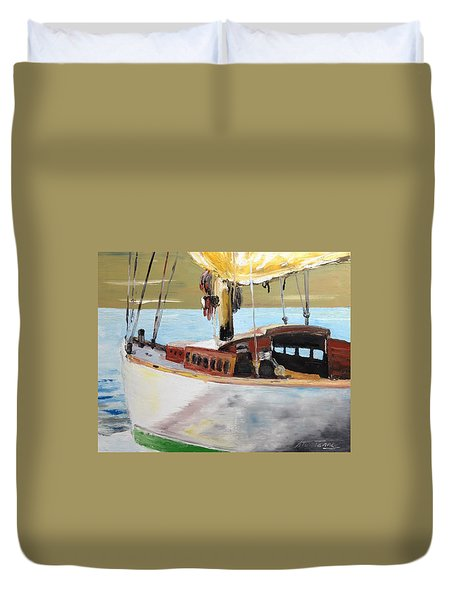 Duvet Cover featuring the painting Lazy Sloop by Stan Tenney