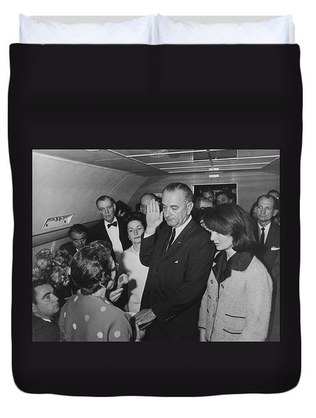 Lbj Taking The Oath On Air Force One Duvet Cover by War Is Hell Store