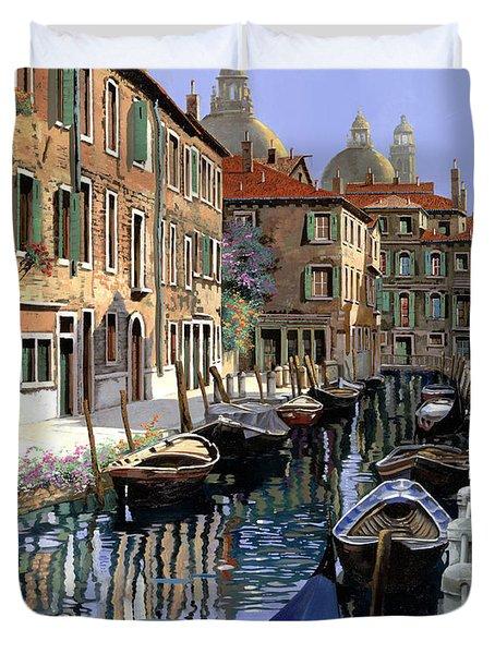 Le Barche Sul Canale Duvet Cover by Guido Borelli