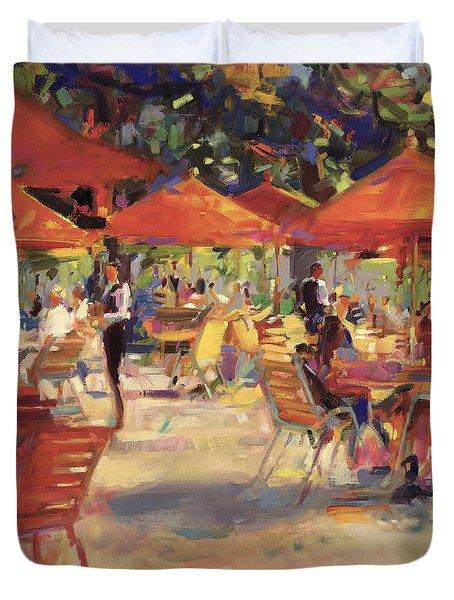 Le Cafe Du Jardin  Duvet Cover by Peter Graham