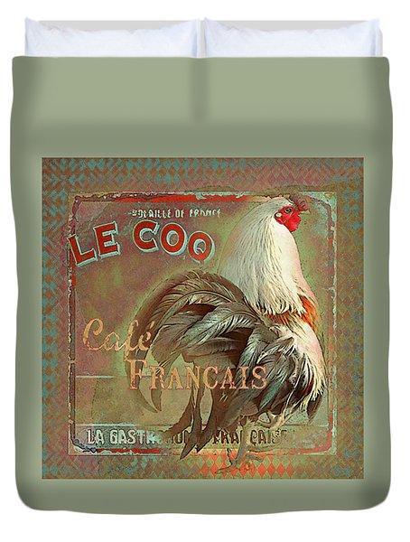 Duvet Cover featuring the digital art Le Coq - Cafe Francais by Jeff Burgess