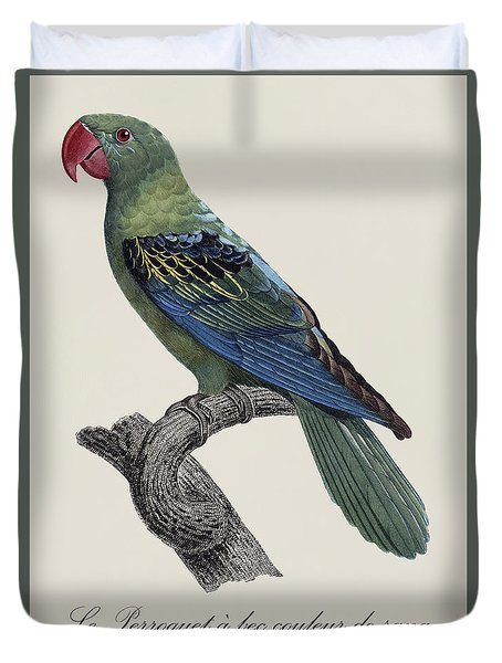 Le Perroquet A Bec Couleur De Sang / Great-billed Parrot - Restored 19thc. Illustration By Barraband Duvet Cover by Jose Elias - Sofia Pereira