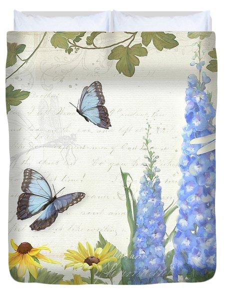 Le Petit Jardin 1 - Garden Floral W Butterflies, Dragonflies, Daisies And Delphinium Duvet Cover by Audrey Jeanne Roberts