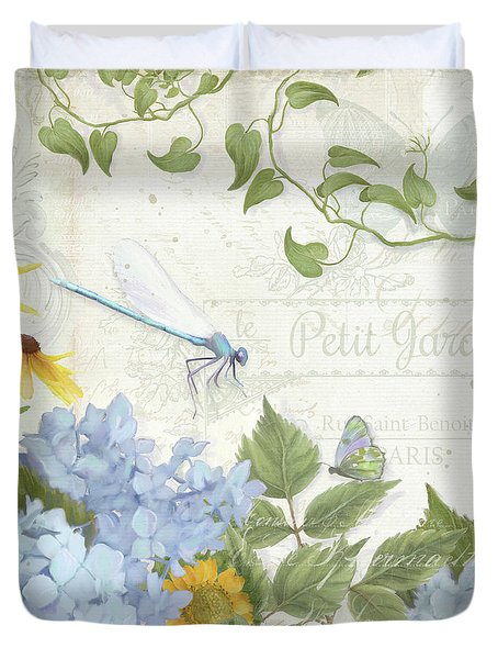 Duvet Cover featuring the painting Le Petit Jardin 2 - Garden Floral W Dragonfly, Butterfly, Daisies And Blue Hydrangeas by Audrey Jeanne Roberts