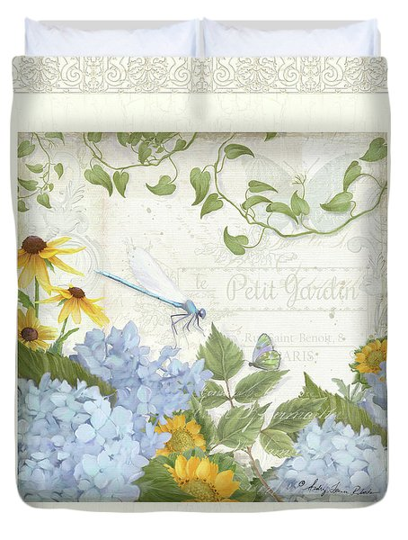 Duvet Cover featuring the painting Le Petit Jardin 2 - Garden Floral W Dragonfly, Butterfly, Daisies And Blue Hydrangeas W Border by Audrey Jeanne Roberts