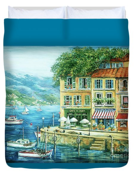 Le Port Duvet Cover by Marilyn Dunlap