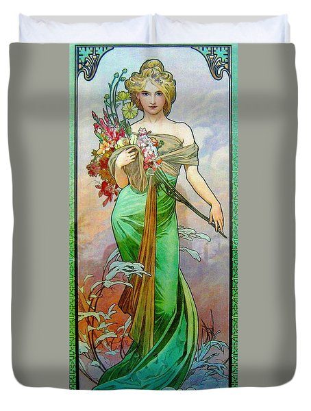 Le Printemps C1895 Duvet Cover by Padre Art