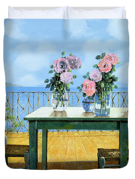 Le Rose E Il Balcone Duvet Cover by Guido Borelli