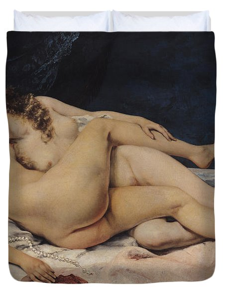 Le Sommeil Duvet Cover by Gustave Courbet