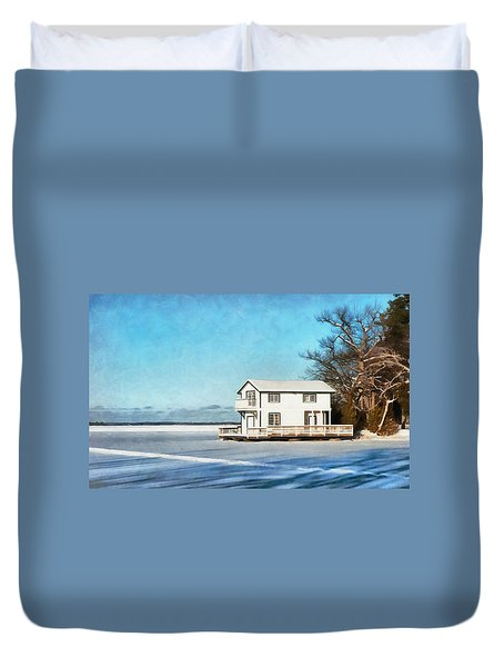 Leacock Boathouse In Winter Duvet Cover