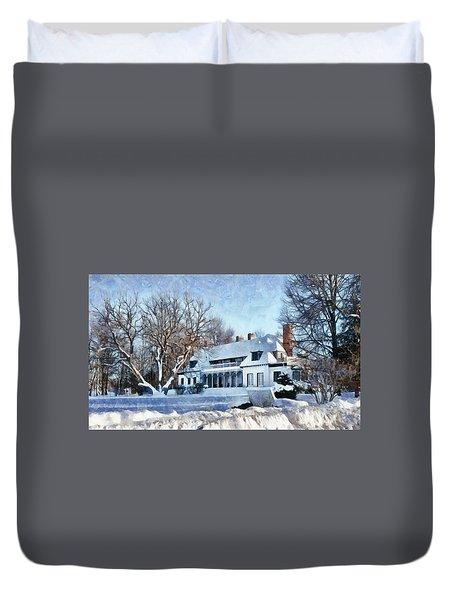 Leacock Museum In Winter Duvet Cover