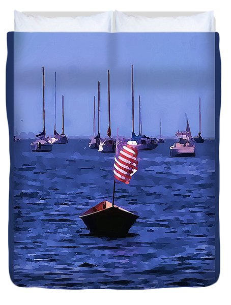Duvet Cover featuring the photograph Leader Of The Pack- Bristol Rhode Island Oil Effect by Tom Prendergast