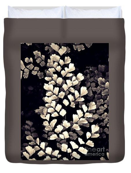 Leaf Abstract 15 Sepia Duvet Cover by Sarah Loft