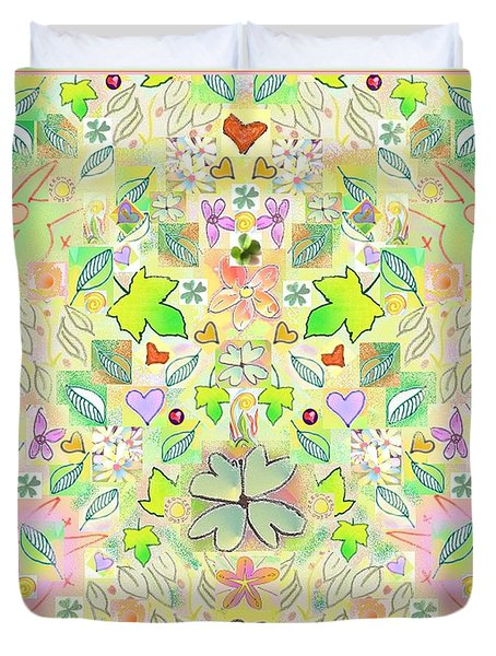Leaf And Flower And Heart Pattern  Duvet Cover