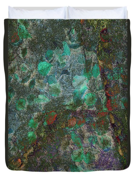 Duvet Cover featuring the photograph Leaf And Rock Composite 3 by Elaine Teague